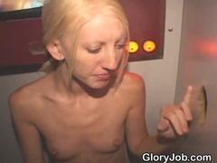 Blonde Amateur Bimbo Sucking Strangers At Glory Hole