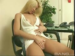 Delicious blonde Agatha tingles her cunt in a solo masturbation