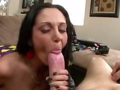 Busty cougar sucking big white cock pov