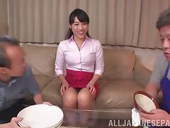 Older Asians ravish lustful bitch in a hot threesome