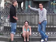 Public sex with a cute young girl in the city center by the famous statue VERY NICE