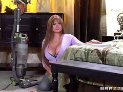 Horny milf with huge fake tits slammed by a bald guy
