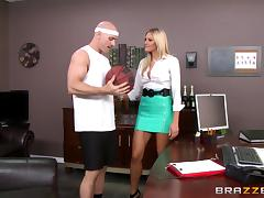 Bald guy with a stiff throbbing dick drills a blonde's juicy cunt