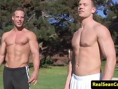Assfucking muscle jocks flexing before fucking