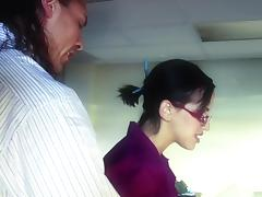 Charming Brunette In Glasses Screwed After Cute Blowjob