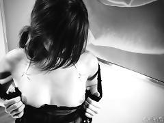Solo babe Ariel Rebel jacking her sweet puss in black lingerie