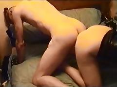 Double videos. When two studs are pleasing a chick, she receives double joy
