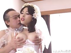 Bridal lingerie on a Japanese beauty makes for an erotic fuck scene