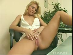 She lifts up her dress and rubs her smooth, fully shaved pussy tube porn video