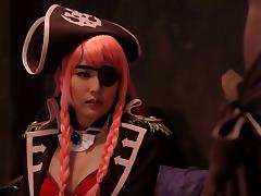 A Japanese babe dressed like a pirate giving a great blowjob