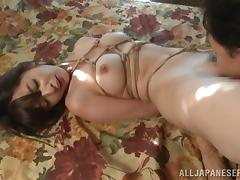 He ties up an Asian slut then eats and fucks her pussy tube porn video