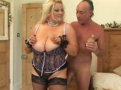 A BBW with monster tits gets plowed and sucks a guy's balls