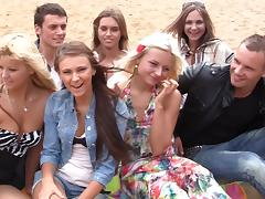 Autumn & Grace & Molly & Olie & Savannah in outdoor orgy movie with hot student chicks