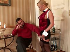 Compassionate blonde in stocking giving her horny guy blowjob then getting banged hardcore doggystyle