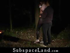 Alexis Crystal restrained for painful forest perversion