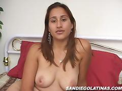 Slutty Latina Lucinda rubs her hairy pussy with a dildo tube porn video