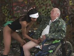 Army, Army, Brunette, Couple, Fucking, Handjob