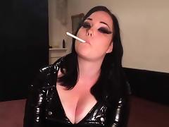 Busty British Smoking in PVC