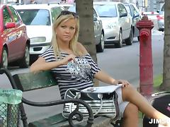 Lovely blonde doll loves sitting on a hard pecker