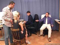 Horny blonde business lady makes a deal through a fuck