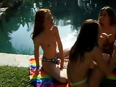 Girls get horny at pool party and get it on - Part 1 of 2