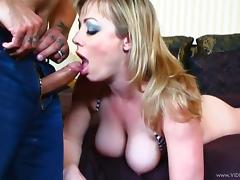 Tattooed MILF with big tits giving superb blowjob before getting hammered doggystyle tube porn video
