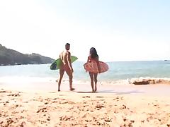 After Surf  Hot Anal in the Beach