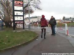 Horny old guy and a cute chick in stockings have lots of sex outdoors