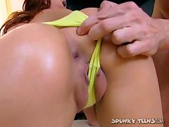 Teen banged in the ass and giving him a hot ATM blowjob