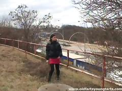 Outdoor sex with an old man on a frigid winter day tube porn video