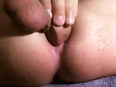 Self fuck & cum in ass.