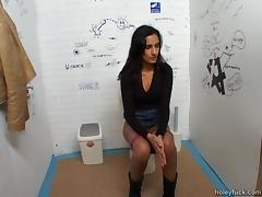 Skinny girl cannot resist the big cock at the bathroom gloryhole