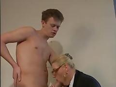 BLONDE MATURE WITH BIG BOOBS & GLASSES FUCKED IN THE OFFICE