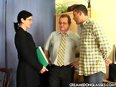 Gangbang for the new secretary with three facials on her glasses