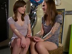 Tattooed lesbian teens rub hard each other's beavers