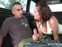 Redhead hot amateur blowing cock on the bus floor