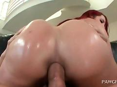 Big ass redhead enjoying anal penetration
