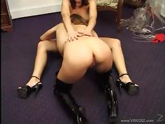 Amazing babes in high heels showcasing her nice ass while giving her guy blowjob