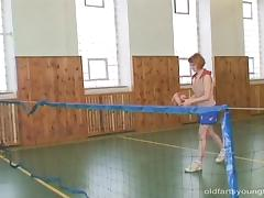 Gym coach gives his teen redhead student a hardcore fucking