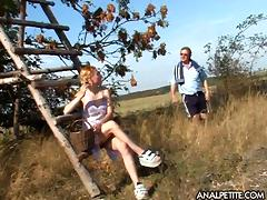 Old guy finds a big boobs blonde in a field and fucks her hard tube porn video