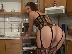 Horny anal babe gets fucked in a hot kitchen blowjob and bang action porn tube video