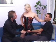 Two guys ravaging her mouth and her tight juicy snatch