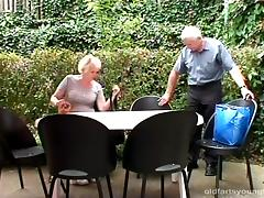 Senior citizens on a picnic are joined by a cutie for a threesome