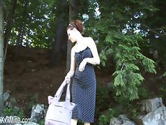 Hardcore outdoor solo video with lewd brunette mom Mina Gorey