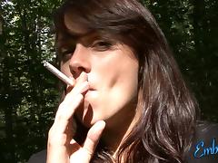 Hardcore outdoor solo video with pregnant brunette Embrianna