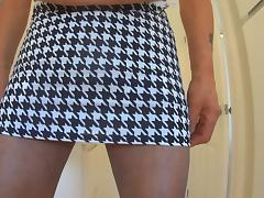 Tooth Skirt Black Tights High Heel Black Bra tube porn video