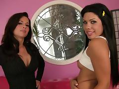 Brunette with nipple rings and her friend share a cock tube porn video