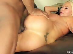 Nikita slurps up a BBC with her mouth & pussy