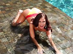 Gorgeous Whitney Westgate fondles her pussy and boobs by the pool