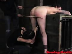 Tattooed sub caned and toyed tube porn video